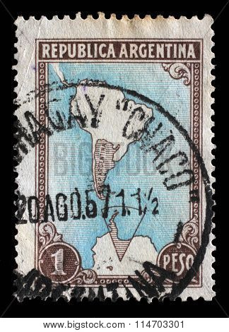 ARGENTINA - CIRCA 1951: A stamp printed in Argentina shows map of Argentina and Antarctic territories, circa 1951.