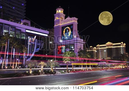 A Moon Over The Bellagio And Caesars Palace