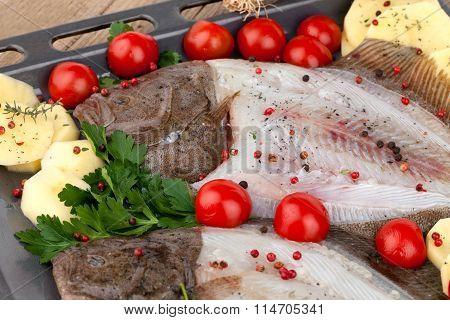 Raw Turbot Fish With Potato Slices