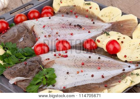 Turbot Fish Ready For Baking