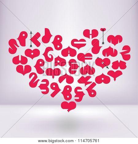 Heart shaped font