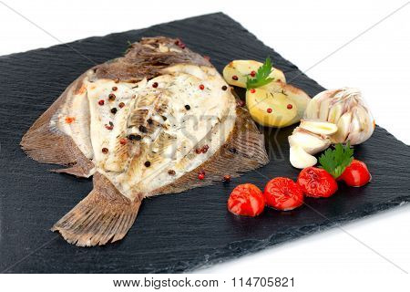 Plate With Baked Turbot Fish