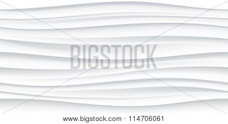 White seamless wave texture pattern. Wavy linen background. Interior wall decoration. 3D Vector interior wall panel pattern. Vector white background of abstract waves.
