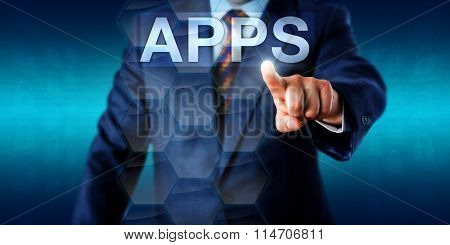 Entrepreneur Touching The Word Apps In Cyberspace