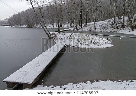 Pedestrian Bridges On A The Newly Frozen Pond