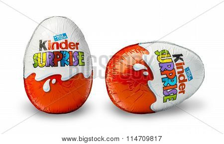 CHISINAU MOLDOVA - November 14 2015. Kinder Surprise a chocolate egg containing a small toy for children but also popular with adult collectors. Kinder Surprise eggs are manufactured by Ferrero.
