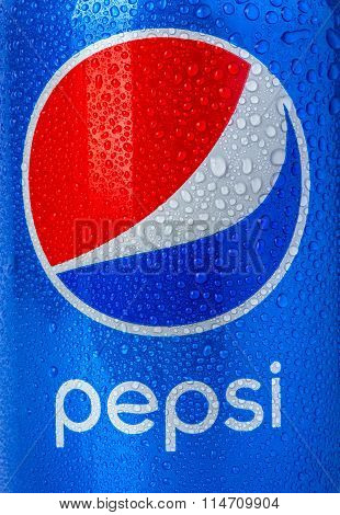CHISINAU MOLDOVA - December 05 2015: Pepsi is a carbonated soft drink produced PepsiCo. Created in 1893 and introduced as Brad's Drink it was renamed as Pepsi-Cola in 1898 then to Pepsi in 1961