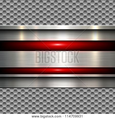 Abstract background, polished metal texture over seamless hexagons pattern, vector illustration.