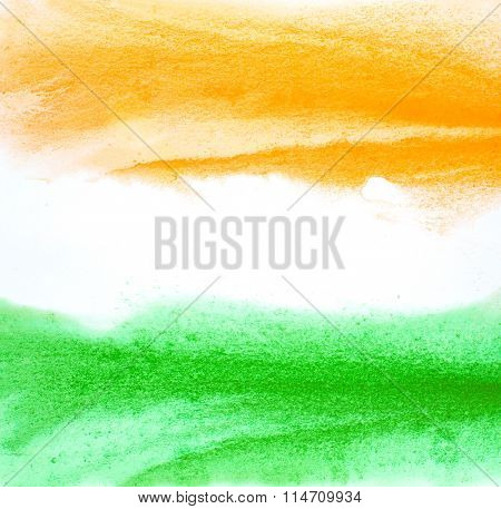 Painted Indian flag colors. Abstract water color paint brush strokes. Artistic Republic day background.