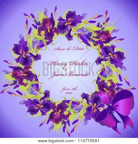 Wedding card with violet iris flower wreath background. Vector illustration