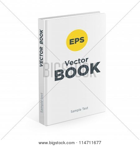 Realistic white book on the white background. Realistic book mockups