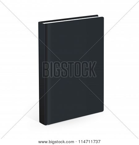 Realistic black book on the white background. Realistic book mockups.