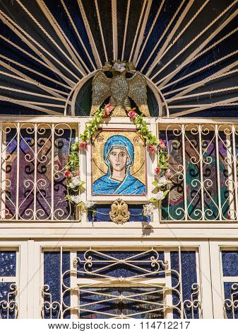 Sychar, Israel, July 11, 2015.: The Icon Of The Virgin Mary And The Dove Symbolizing The Holy Spirit