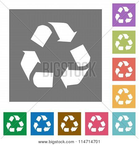Recycling Square Flat Icons