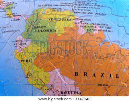 Globe Map Puzzle - South America