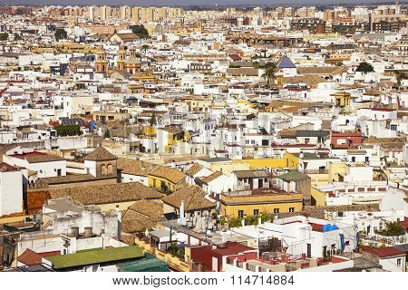 Roofs And White Houses View From Giralda Bell Tower. Seville Or Sevilla Andalusia, Spain