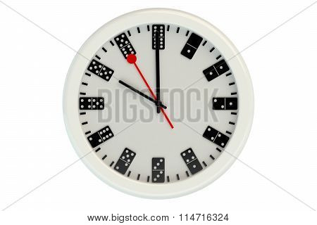 3D Wall Clock With Dial Of Dominoes