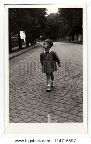 Vintage photo of the small girl