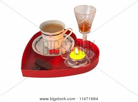 Romantic Breakfast With Chocolate And Liqueur On Red Heart Shaped Tray