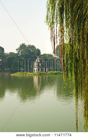 Ho Hoan Kiem, The Little Lake In The Old Part Of Hanoi, Vietnam, With The Tortoise Tower. Tortoise T