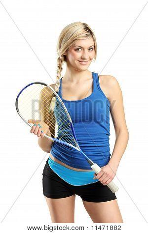 Smiling Female Squash Player Posing