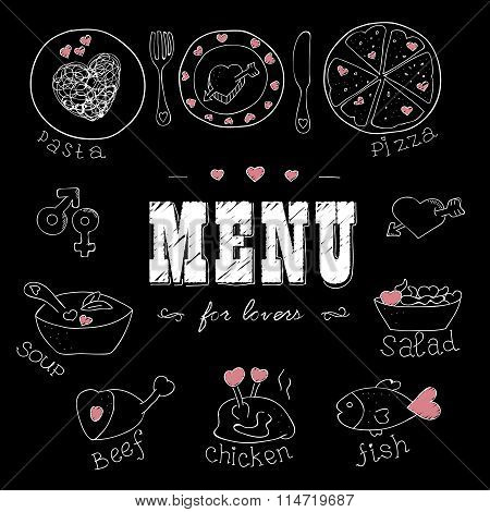 Menu for lovers. Foods with hearts. Love romantic. For invitations cards.Valentines day, Wedding.Doo