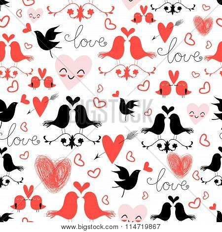 Holiday Pattern With Love Birds And Hearts