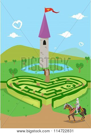 Finding Love in the Kingdom of Hearts. Valentines Day and Love Concept. Editable Clip Art.