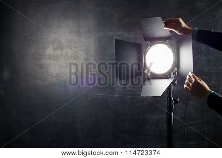 Using Light Equipment In Photo Studio