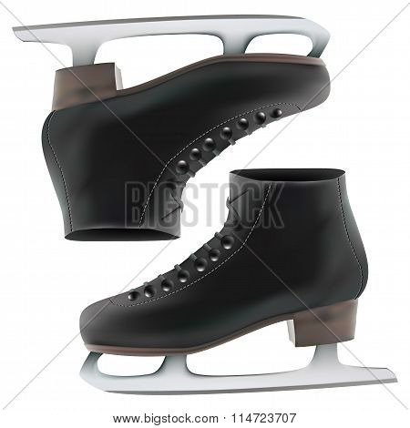 Vector Illustration Of Classic Ice Skates  Pair Of Ice Skates Isolated