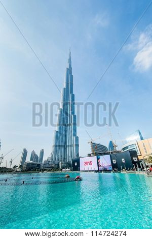 Dubai - JANUARY 10, 2015: Burj Khalifa on January 10 in UAE, Dub