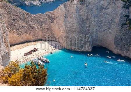 View Of Crowded Navagio Beach On Zakynthos