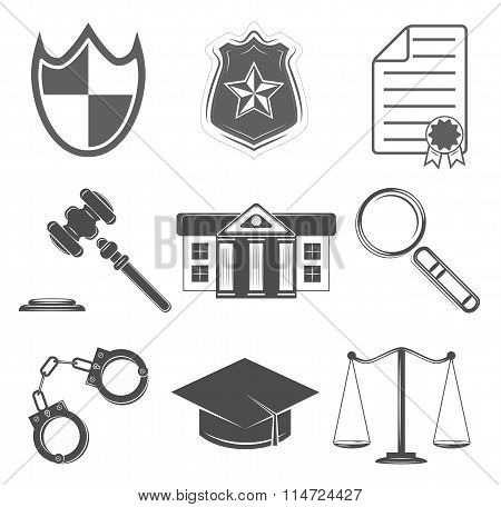 Judge And Police Icons Set. Law Labels. Vector Illustration
