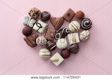 Chocolate candies heart
