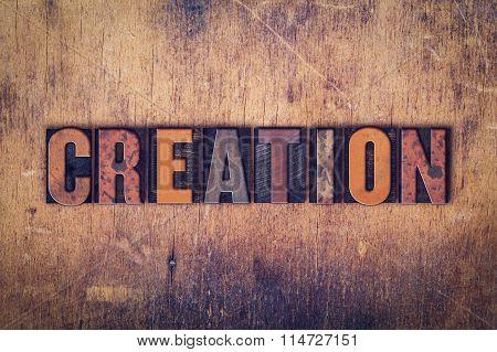 Creation Concept Wooden Letterpress Type
