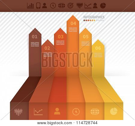 Infographics template with six arrows pointing upwards