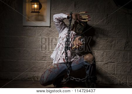 expression, halloween monster chained with bloody hook, night scene and terror