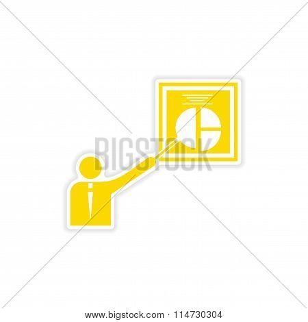 stylish sticker on paper Man and chart
