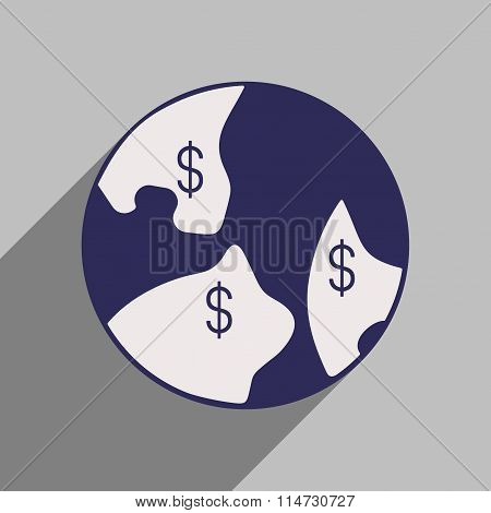 Flat style icon with long shadow planet money