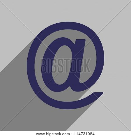 Flat style icon with long shadow e-mail