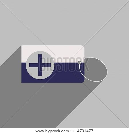 Flat style icon with long shadow Medical Card