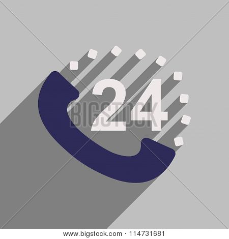 Flat style icon with long shadow hot line