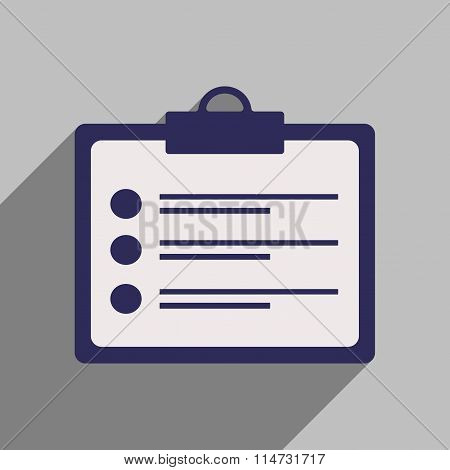 Flat style icon with long shadow questionnaire