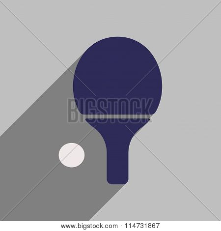 Flat style icon with long shadow small tennis