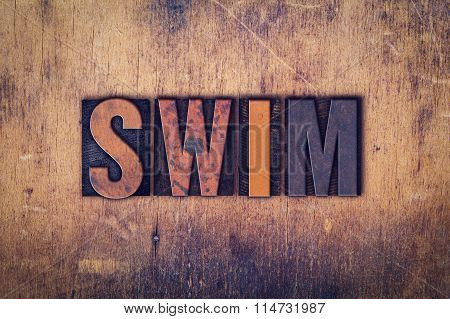 Swim Concept Wooden Letterpress Type