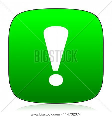 exclamation sign green icon for web and mobile app