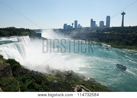 Niagara Falls and city beside