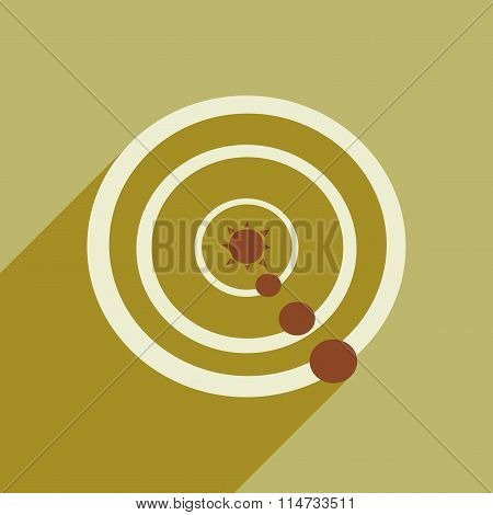 Flat icon with long shadow solar system