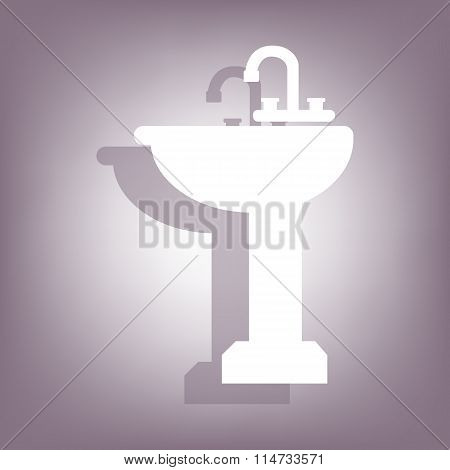 Bathroom sink icon with shadow