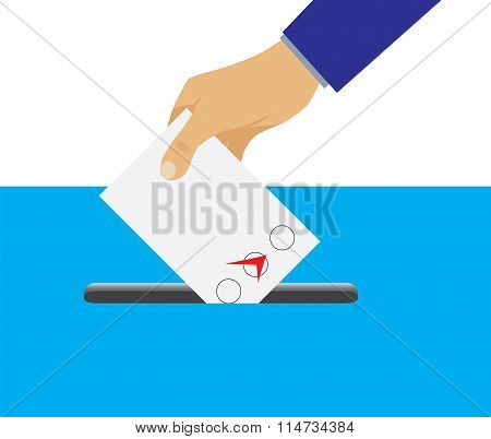 Hand Putting Voting Paper In The Ballot Box.